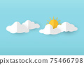 Sun with Cloud on blue background. Paper style Vector for website, background, design, banner. 75466798