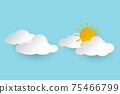 Sun with Cloud on blue background. Paper style Vector for website, background, design, banner. 75466799