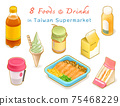 Food, drink in Taiwan supermarket collection, digital painting of apple juice, banana milk, ice cream, stinky tofu, fermented bean curd, salmon sashimi, cafe, sandwich isometric raster 3D illustration 75468229