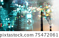industry chimney and index number graph line of trade stock market on glow blur city light wealth business background 75472061