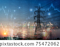 market stock graph and information with city light and electricity and energy facility industry and business background 75472062