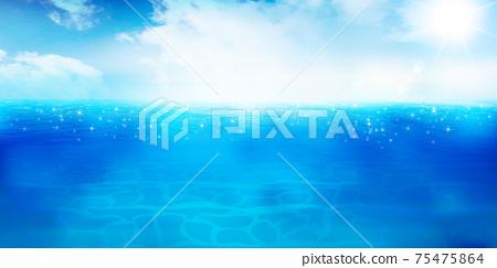 海和夏天風景背景 75475864