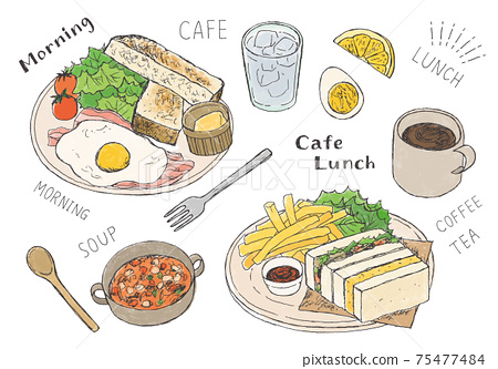 Hand-drawn illustrations of cafe rice toast and sandwiches (color) 75477484