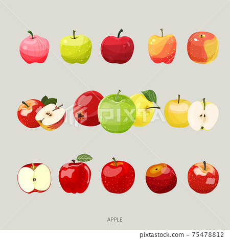 手繪蘋果插畫矢量圖 75478812