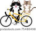 一隻貓騎自行車的插圖 75480498