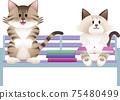一隻貓坐在長椅上的插圖 75480499
