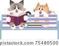 一隻貓坐在長椅上的插圖 75480500