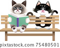 一隻貓坐在長椅上的插圖 75480501