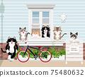 一隻貓在窗台上的插圖 75480632