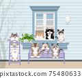 一隻貓在窗台上的插圖 75480633
