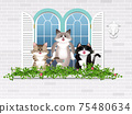一隻貓在窗台上的插圖 75480634