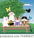 一隻貓坐在長椅上的插圖 75480637