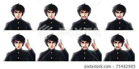 昭和熱血男孩卡通風格,一個英俊的學校學生的面部表情集 75482985