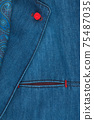 Elegant denim suit. Male jacket with tie and buttons, close-up. Mens fashion. 75487035