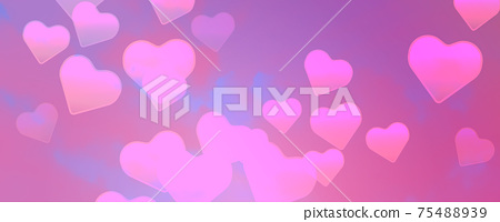 Pink clouds with hearts vector background. Bright decoration for your design 75488939