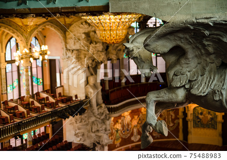 Pegasus sculpture at the Palau de la Musica Catalana in Barcelona, Spain 75488983