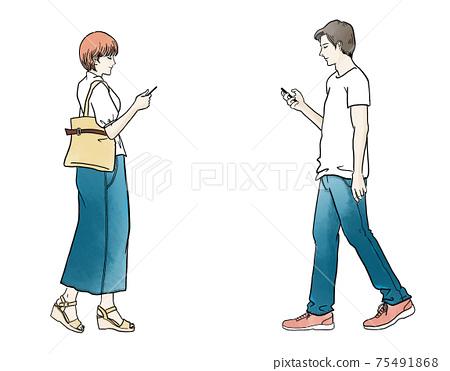 可能會碰撞的行走智能手機上的男人和女人 75491868