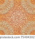 Vintage greeting or invitation card, lace doily on a abstract background. 75494302