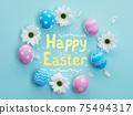 happy easter holiday banner pink blue egg flower 75494317