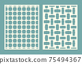 Die and laser cut screen panels with tile geometric pattern. Laser cutting decorative borders patterns. Set of cover greeting card templates. 75494367
