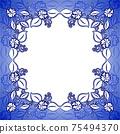 Blue floral frame 75494370