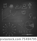 Elements of infographics made by hand with chalk on blackboard grunge texture. 75494795