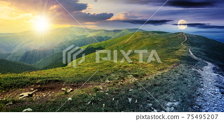 day and night time change concept above the mountain landscape in spring. path through meadow in grass on the hill with sun and moon. wonderful weather with fluffy clouds on the sky 75495207