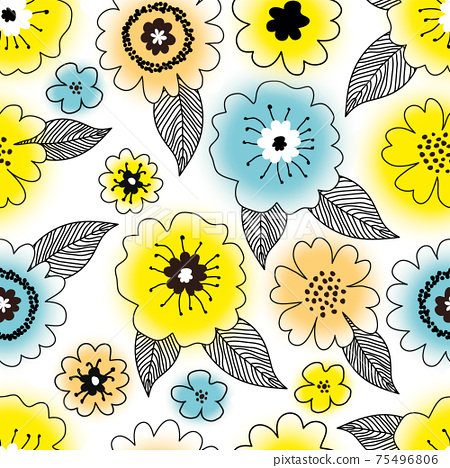 Seamless cute floral pattern with hand drawn various colorful gradient yellow, blue and orange spring flowers with black leaves on white background. Vintage vector design for fabric, wrapping paper 75496806