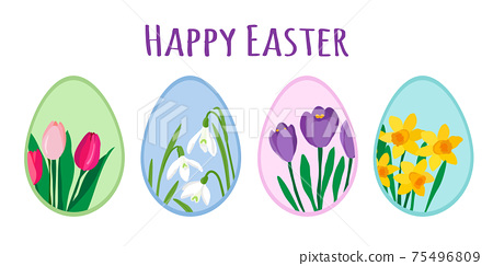 Colorful easter eggs decorated with cute spring flowers. Tulips, crocuses, daffodils and snowdrops. Easter greeting card with Happy Easter text isolated on white background, EPS 10 vector design 75496809