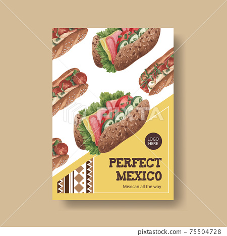 Poster template with Mexican food concept design watercolor illustration 75504728