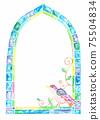 彩繪玻璃風格框架鳥 75504834