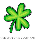 Green shamrock hand-draw style.  75506220