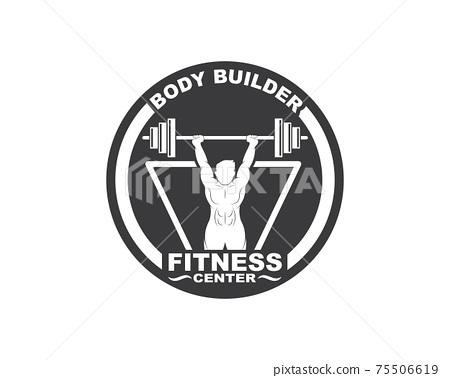 Bodybuilder fitness gym icon logo badge vector illustration 75506619