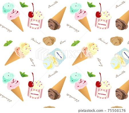 冰淇淋杯冰夏天無縫模式模式 75508176