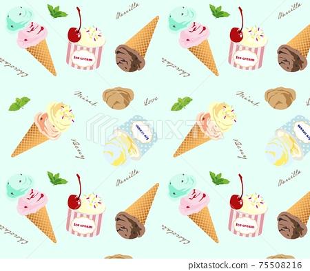 冰冰淇淋無縫模式模式夏天色板 75508216
