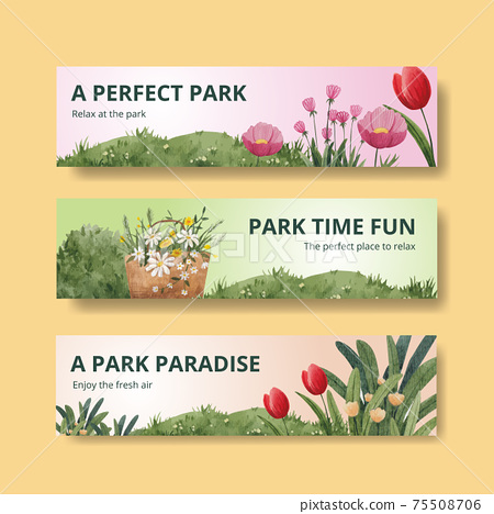 Banner template with park and family concept design for advertise watercolor illustration 75508706