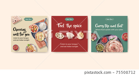 Advertise template with Indian food concept design for marketing watercolor illustraton 75508712