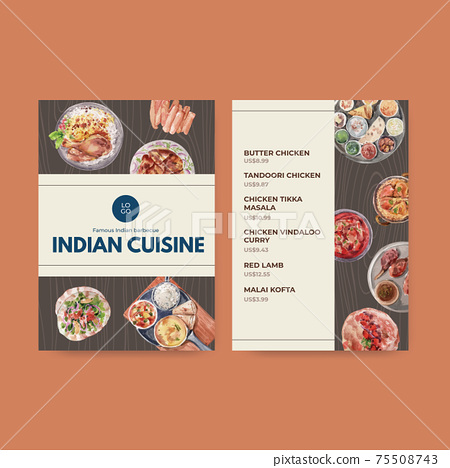 Menu template with Indian food concept design for restaurant and bistro watercolor illustraton 75508743