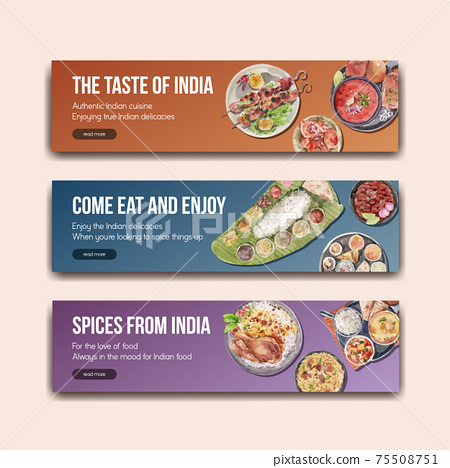 Banner template with Indian food concept design for advertise and marketing watercolor illustraton 75508751