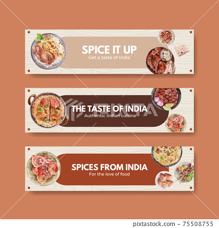 Banner template with Indian food concept design for advertise and marketing watercolor illustraton 75508755