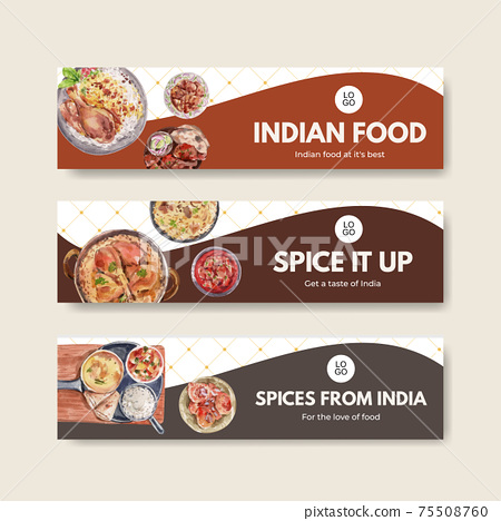 Banner template with Indian food concept design for advertise and marketing watercolor illustraton 75508760