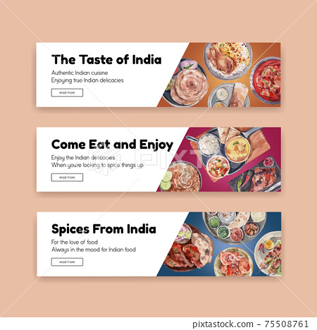 Banner template with Indian food concept design for advertise and marketing watercolor illustraton 75508761