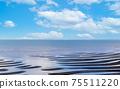"""아리아케 해에 떠있는 환상적인 砂紋 경치 풍경 """"자연의 신비 일본의 물가 백선」일본 규슈 구마모토 현 (가마와 해안) 75511220"""