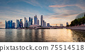 Singapore business district skyline during sunset. 75514518