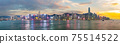 Panorama view of Hong Kong skyline on the evening seen from Kowloon. 75514522