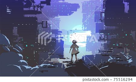 the girl in the cyberpunk city 75516294
