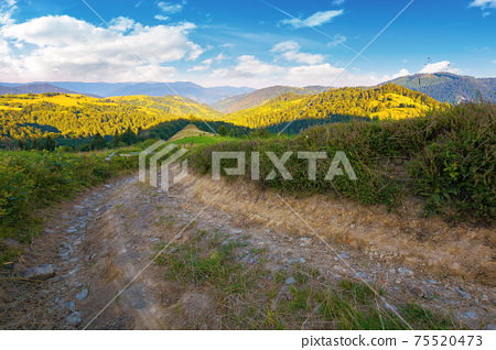 rural landscape in mountains at summer sunrise. country road through grassy pasture winding down in to the distant valley. clouds on the blue sky above the ridge in the distance 75520473