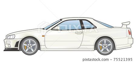 ◆跑車_01(白色)側視圖(帶主線) 75521395