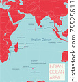 Indian ocean region detailed editable map 75525613