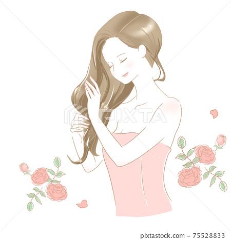 女人在做頭髮護理玫瑰粉紅色 75528833